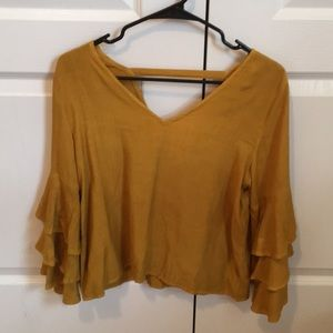 Tops - Mustard Yellow Frill Sleeve Top